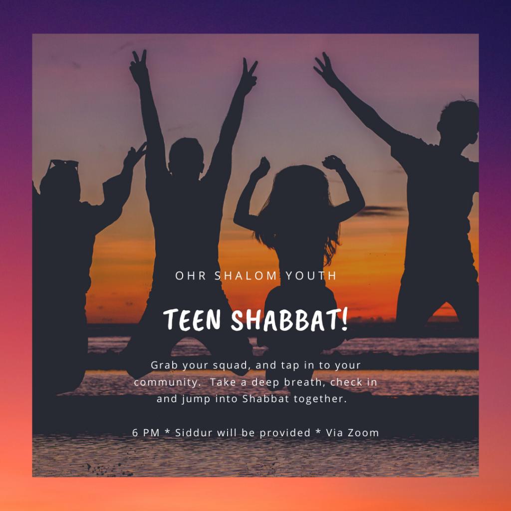 Zoom-based teen shabbat service at Ohr Shalom